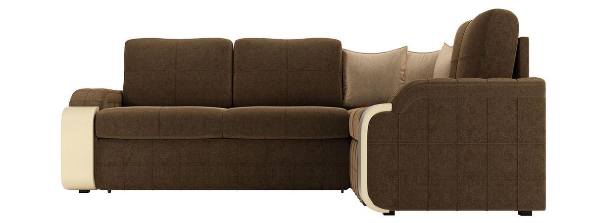 Диван ЛигаДиванов Николь 103 правый 60194 микровельвет коричневый/бежевый - фото 3