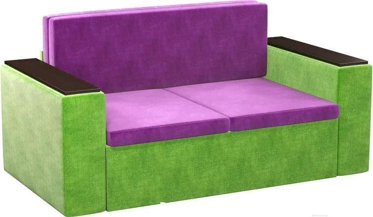 Диван Mebelico Арси 2 микровельв. фиолетовый/зеленый - фото 1