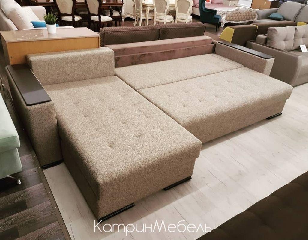 Диван DM-мебель Премьер-2 (угловой, бежевый/коричневый) - фото 2