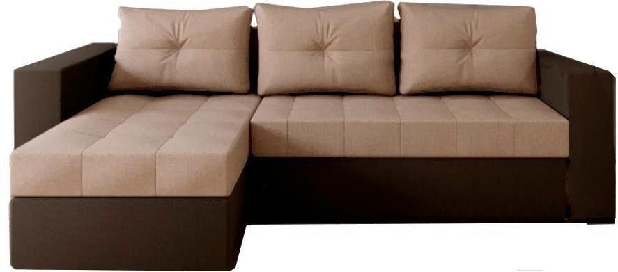 Диван Настоящая мебель Константин левый экокожа/рогожка коричневый/бежевый - фото 1