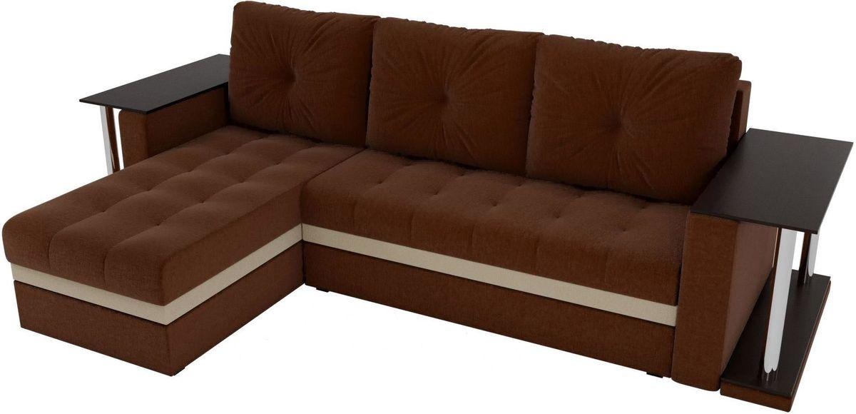 Диван Mebelico Атланта М левый 2 стола рогожка коричневый - фото 5