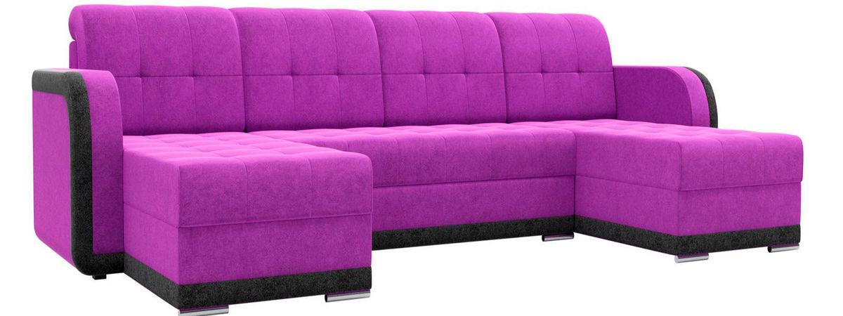 Диван Mebelico Марсель п-образный велюр фиолетовый/черный - фото 1