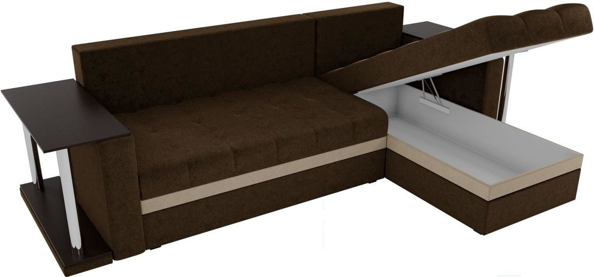 Диван Mebelico Атланта М правый 2 стола вельвет коричневый - фото 5