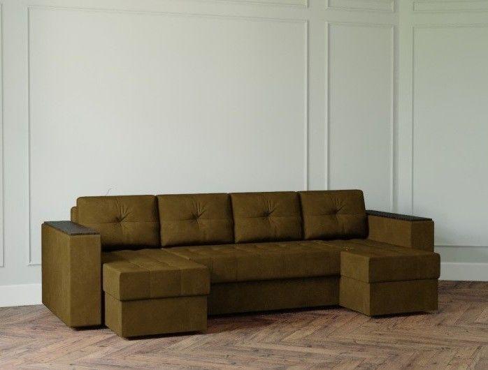 Диван Настоящая мебель Ванкувер Лайт с декором (модель: 0010) коричневый - фото 1