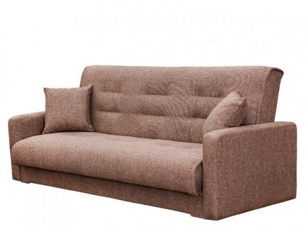Диван Луховицкая мебельная фабрика Лондон рогожка коричневая (пружинный) 120x190 - фото 1
