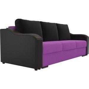 Диван ЛигаДиванов Монако микровельвет фиолетовый, подлкотники экокожа черные, подушки микровельвет черные - фото 2