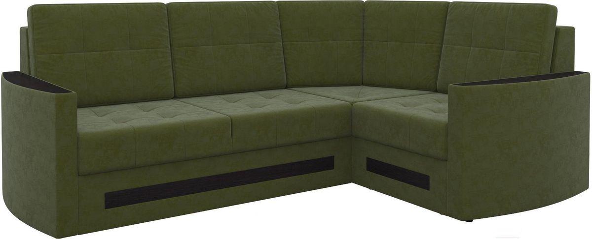 Диван Mebelico Белла У 476 правый вельвет зеленый - фото 1