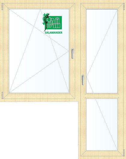 Окно ПВХ Salamander Окно ПВХ 1440*2160 2К-СП, 5К-П, П/О+П ламинированное (светлое дерево) - фото 1