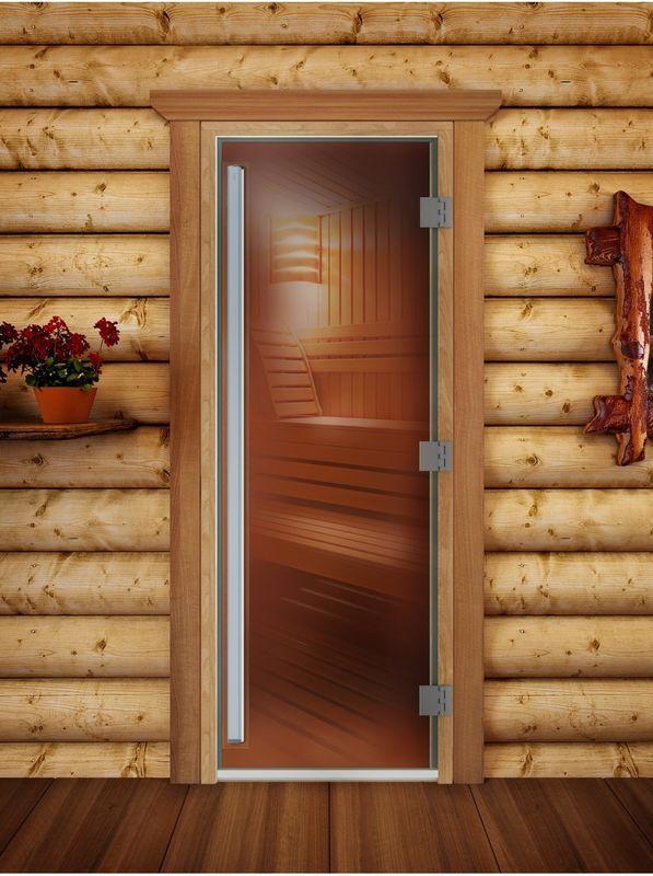 Дверь для бани и сауны Doorwood Престиж бронза 700x1900 (ольха) - фото 1