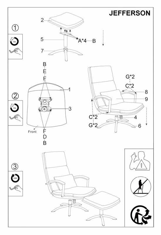 Кресло Signal JEFFERSON TAP. 176, кресло+подставка для ног (серый) JEFFERSONSZ - фото 2
