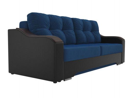 Диван ЛигаДиванов Браун 102165 велюр синий/экокожа черный - фото 4