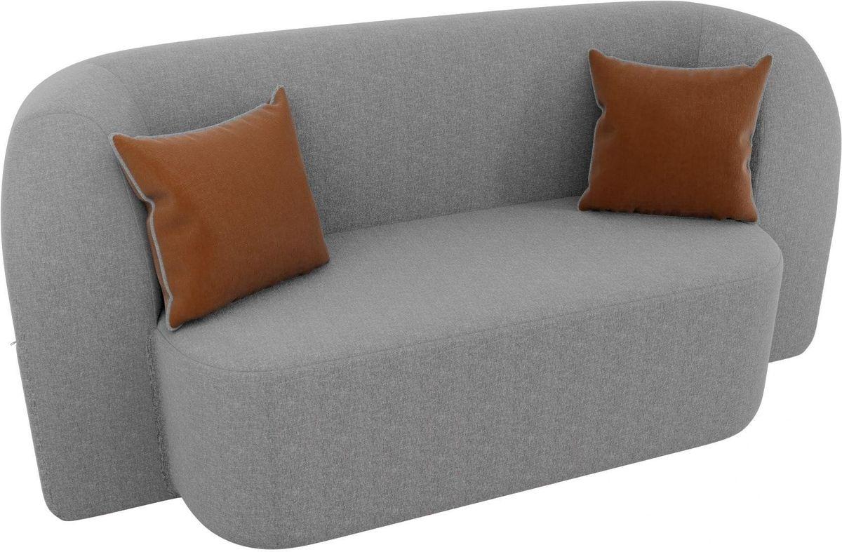 Диван Mebelico Томас 100399 рогожка серый/подушки коричневые - фото 3