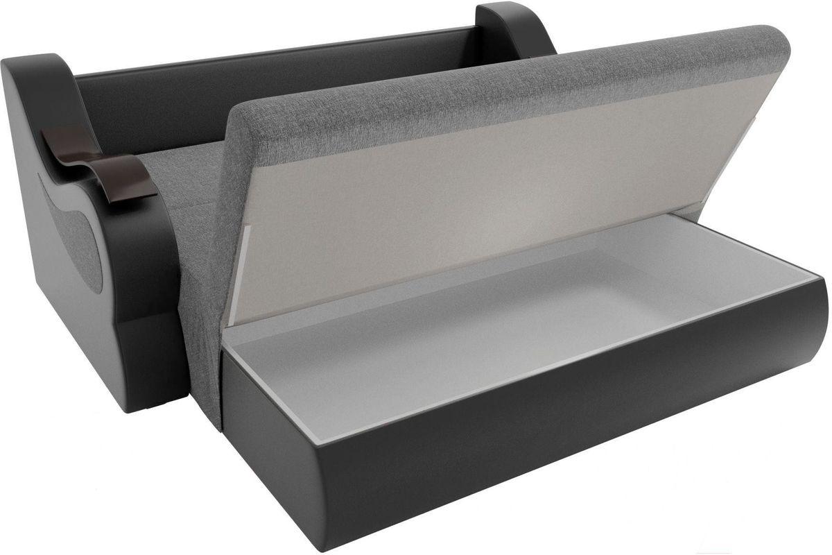 Диван Mebelico Меркурий 222 100, рогожка серый/экокожа черный - фото 6