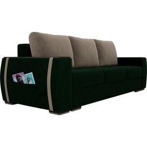 Диван ЛигаДиванов Брион велюр зеленый, подушки бежевые - фото 3