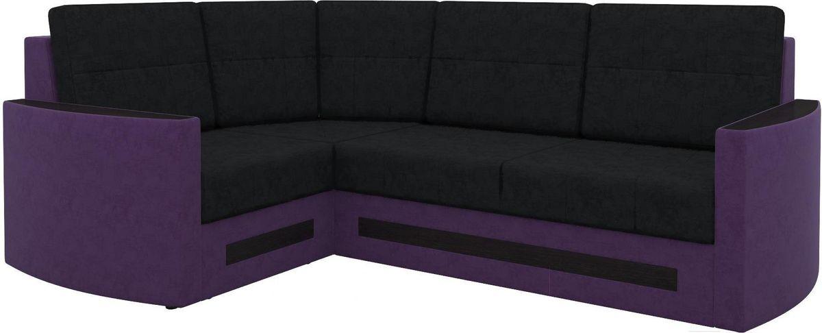 Диван Mebelico Белла У 476 угловой левый вельвет черный/фиолетовый - фото 1