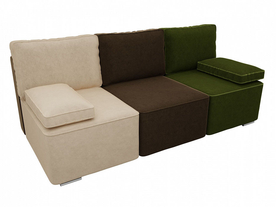 Диван ЛигаДиванов Радуга прямой Микровельвет бежевый\коричневый\зеленый - фото 2
