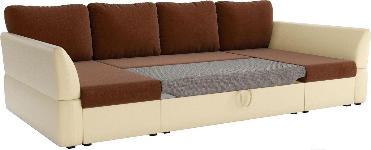 Диван Mebelico Гесен-П 101 рогожка коричневый/экокожа бежевый - фото 3