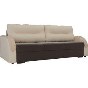 Диван ЛигаДиванов Дарси экокожа коричневый подлокотники бежевые подушки бежевые - фото 1