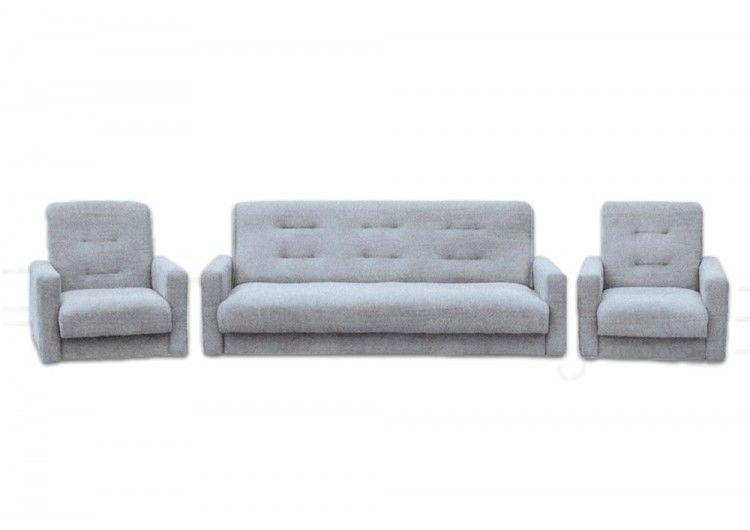 Набор мягкой мебели Луховицкая мебельная фабрика Лондон серая рогожка 140х190 (диван + 2 кресла) - фото 1