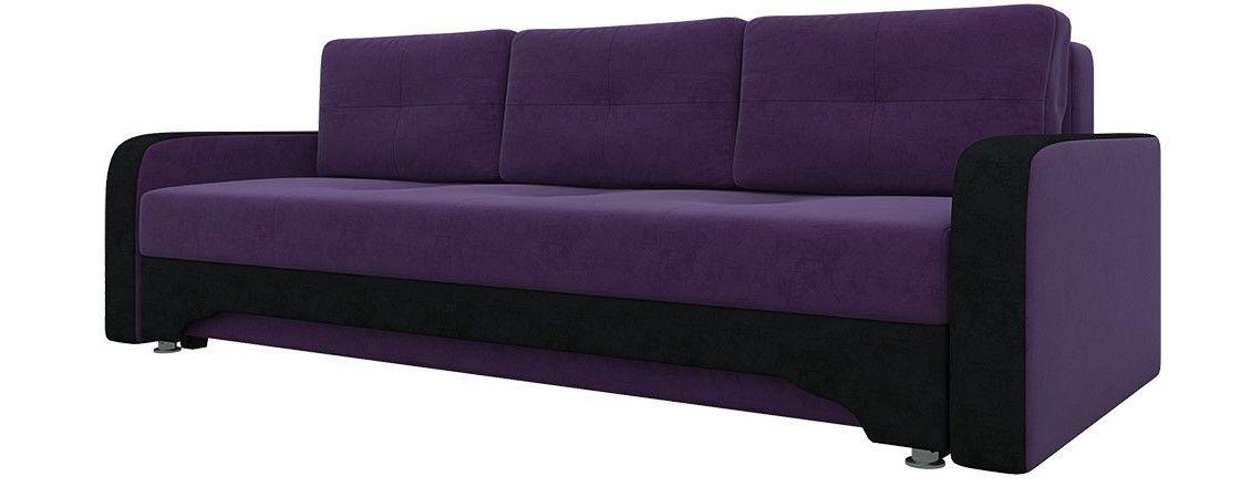 Диван Mebelico Ник-3 (вельвет люкс фиолетовый+черный) - фото 1