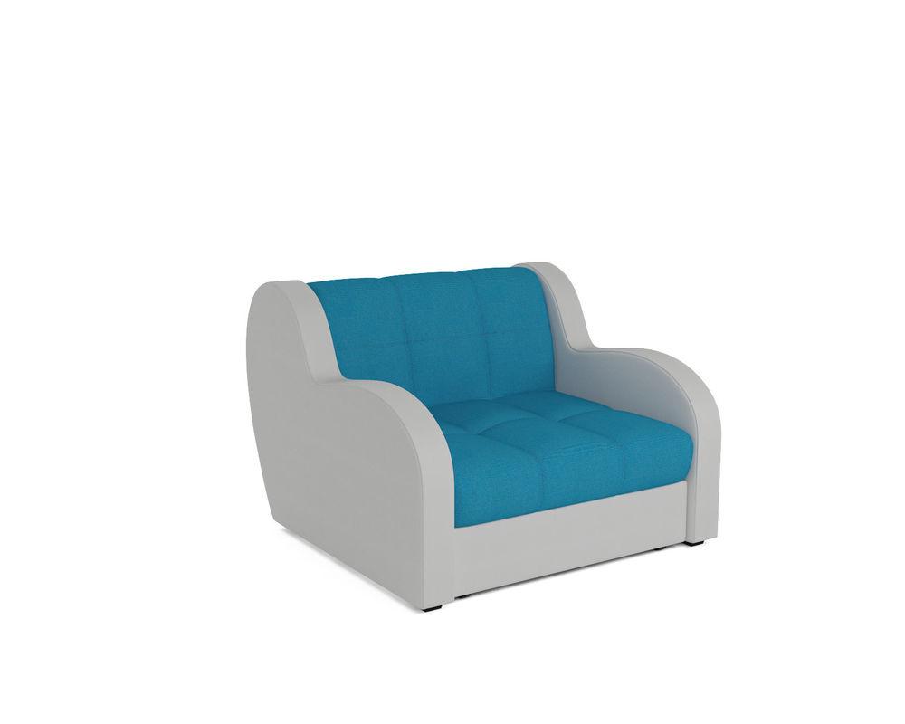 Кресло Мебель-АРС Аккордеон Барон синий (рогожка + экокожа) - фото 1