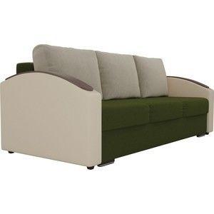 Диван ЛигаДиванов Монако slide микровельвет зеленый подлокотники экокожа коричневые подушки микровельвет бежевый - фото 3