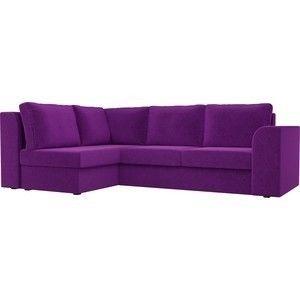 Диван ЛигаДиванов Пауэр угол левый вельвет фиолетовый - фото 1