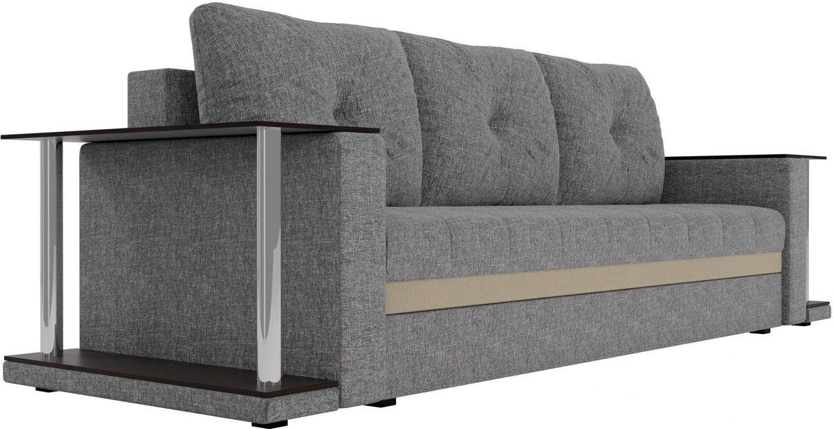 Диван Mebelico Атланта М 2 стола рогожка серый - фото 5