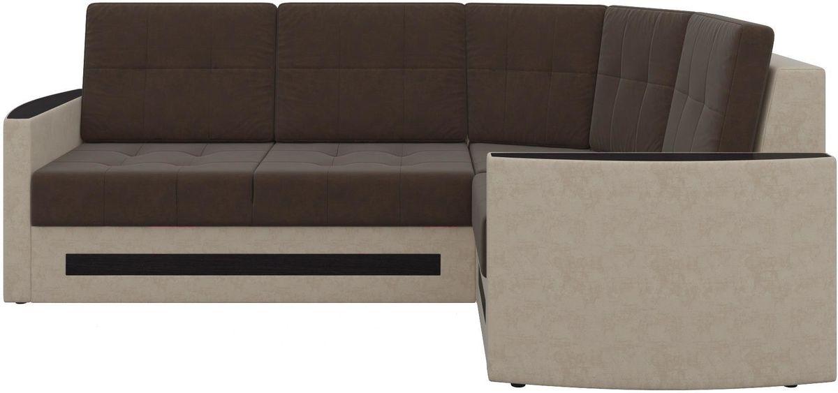 Диван Mebelico Белла У 476 правый вельвет коричневый/бежевый - фото 8