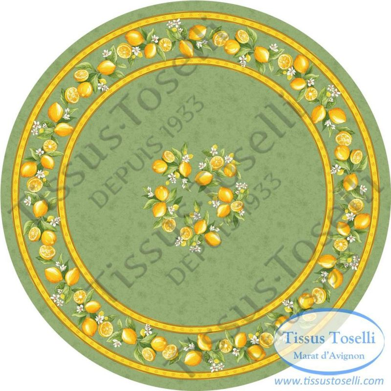 Tissus Toselli Скатерть Citron Vert круглая - фото 1
