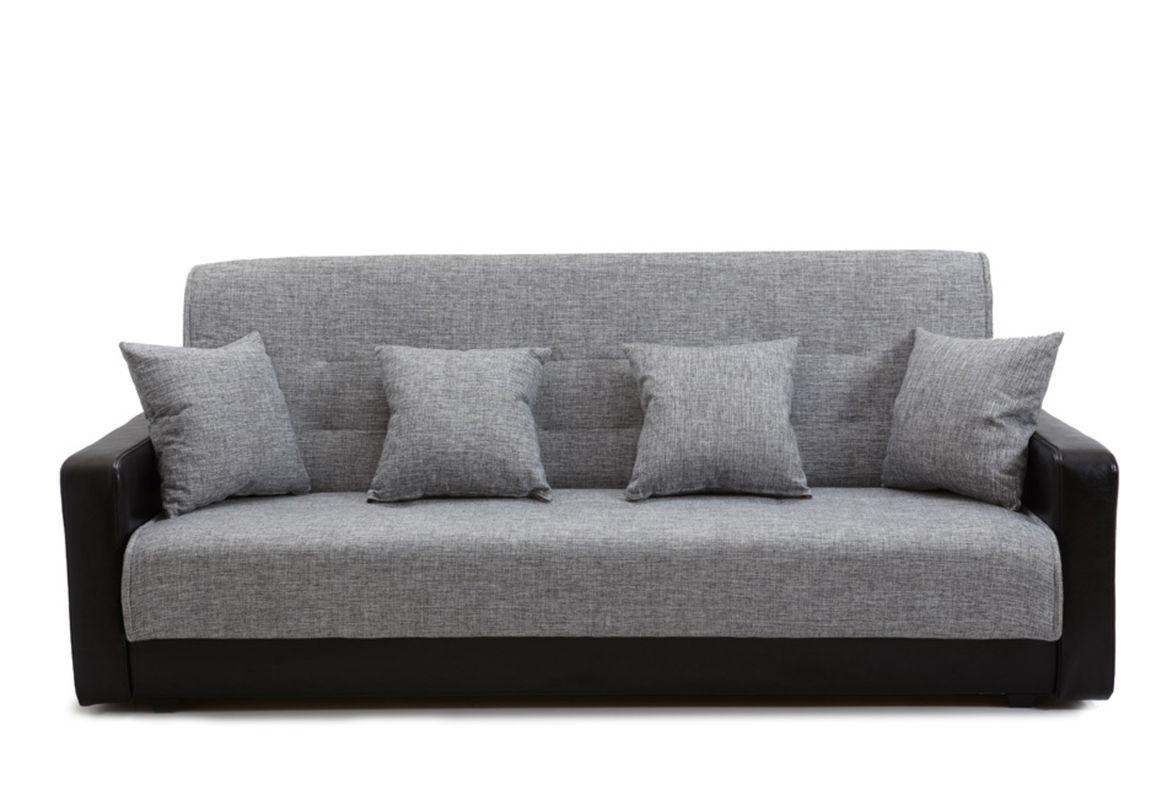 Диван Луховицкая мебельная фабрика Лондон (рогожка серая комби) пружинный 140x190 - фото 1