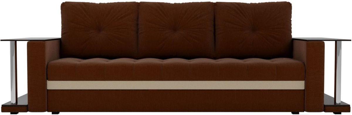 Диван Mebelico Атланта М 2 стола рогожка коричневый - фото 1