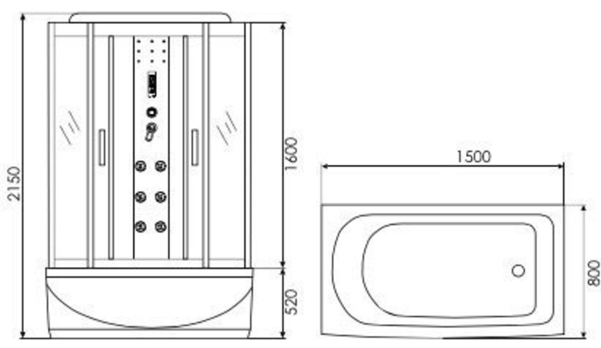 Душевая кабина Erlit ER 4515TP-C4 150x80 - фото 2