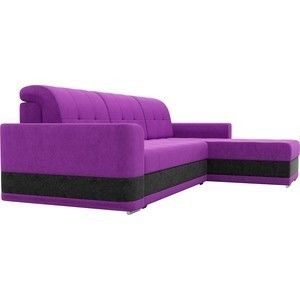 Диван ЛигаДиванов Честер угол правый вельвет фиолетовый вставка черная - фото 4