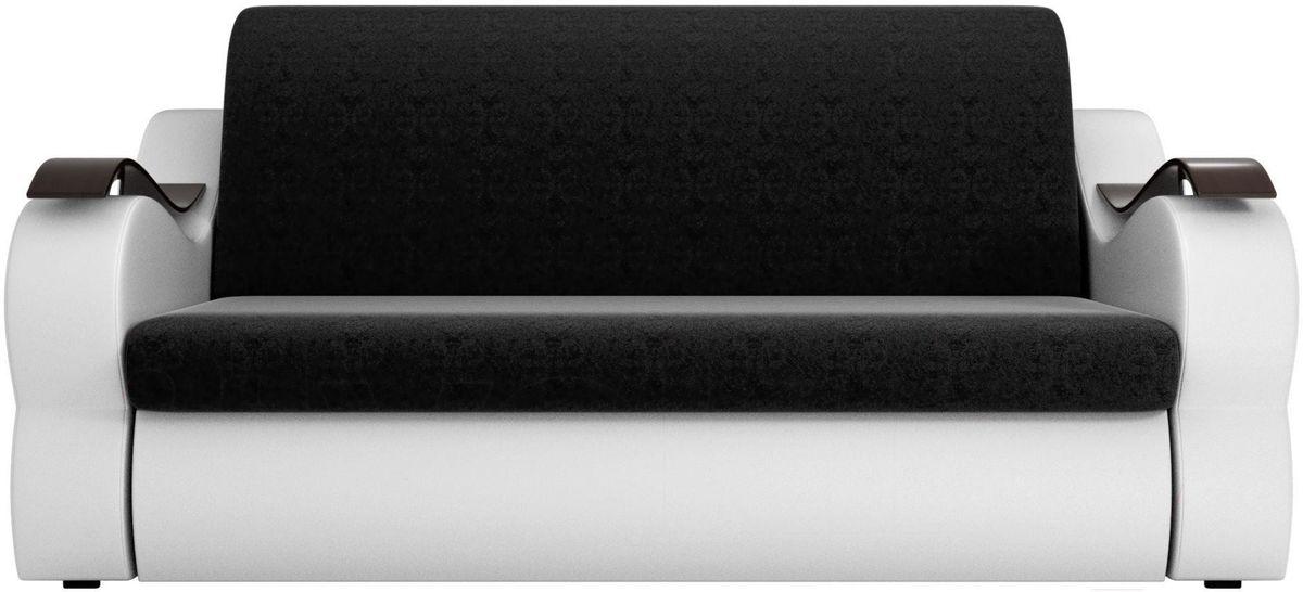 Диван Mebelico Меркурий 222 120, вельвет черный/экокожа белый - фото 1
