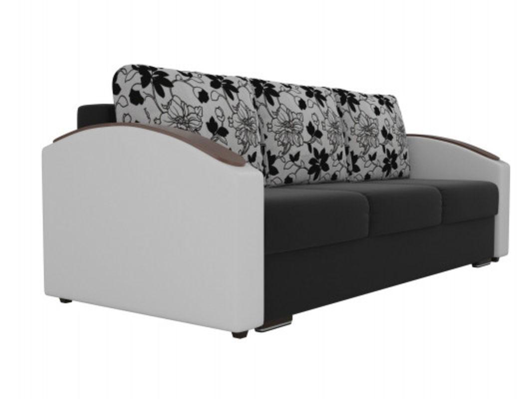 Диван ЛигаДиванов Монако Slide микровельвет черный/экокожа белый/рогожка на флоке - фото 3