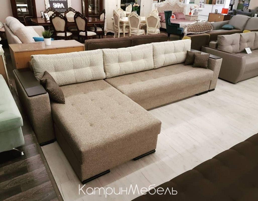 Диван DM-мебель Премьер-2 (угловой, бежевый/коричневый) - фото 1