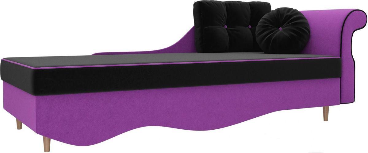 Диван Mebelico Лорд правый 101227 микровельвет черный/фиолетовый - фото 1
