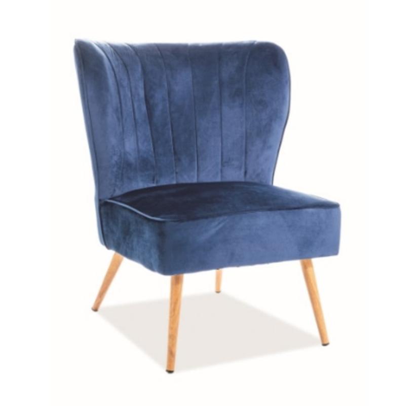 Кресло Signal Legno Velvet (темно-синий/дуб) - фото 1