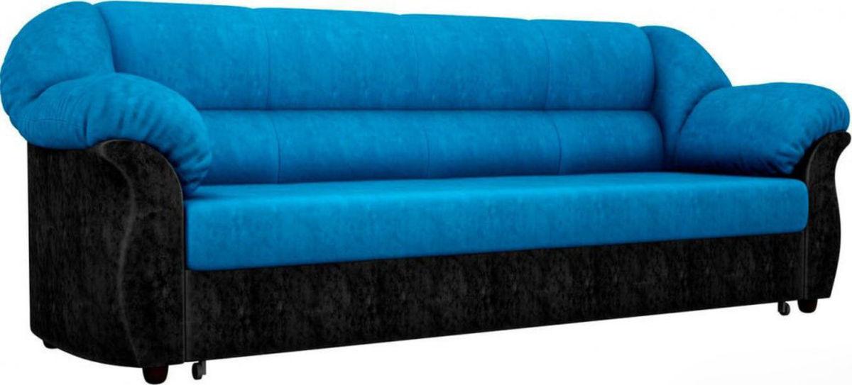 Диван ЛигаДиванов Карнелла 114 60404 велюр голубой/черный - фото 1