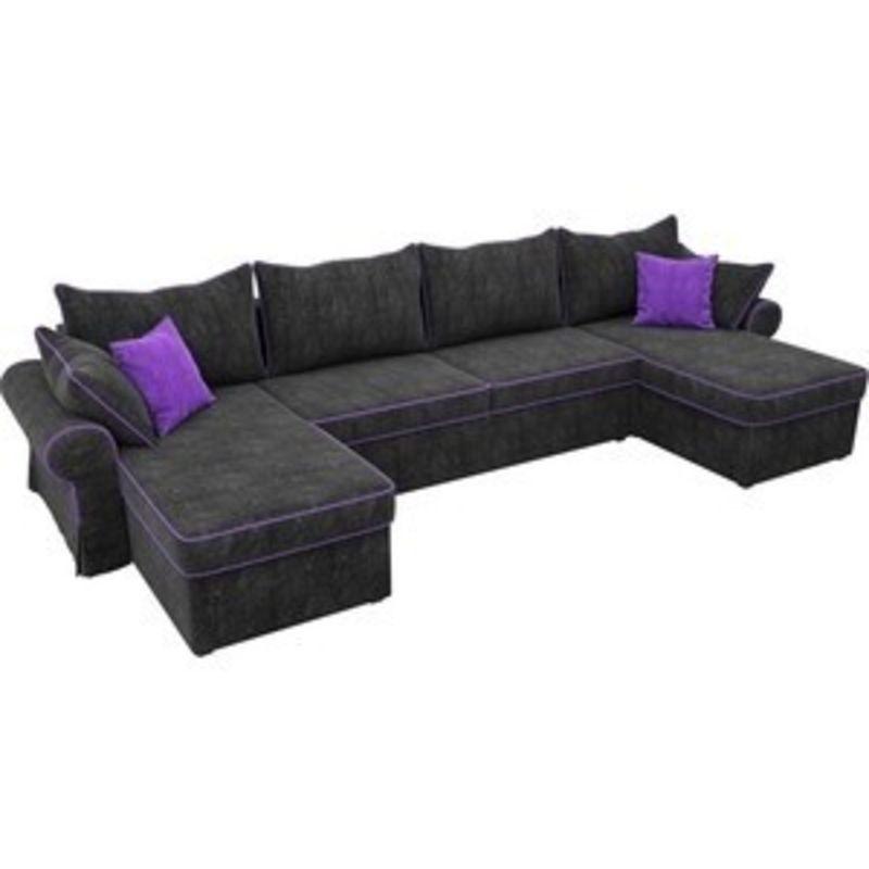 Диван ЛигаДиванов Элис П 124 60666 велюр черный фиолетовые подушки - фото 2