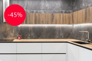 Скидка 45% на кухни со столешницами из компакт-плиты в салоне кухонь «Мастер Мебель»