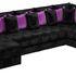 Диван Mebelico Мэдисон-П 93 микровельвет черный подушки черный/фиолетовый 59250 - фото 1