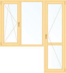 Деревянное окно Сосна 1860*2160, 1с, П/О+Г+П