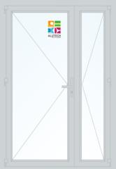Алюминиевая дверь Alutech ALT C48 1300x2100 2К-СП, 1К-П Двухстворчатая с узкой створкой
