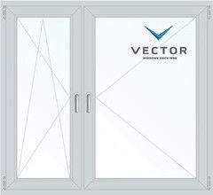 Окно ПВХ Окно ПВХ Vector 1460*1400 1К-СП, 3К-П, П/О+П
