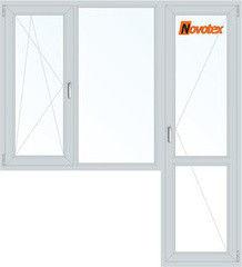 Окно ПВХ Окно ПВХ Novotex 1860*2160 1К-СП, 5К-П, П/О+Г+П