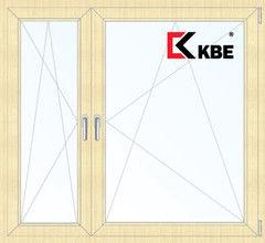 Окно ПВХ KBE 1460*1400 2К-СП, 5К-П, П/О+П/О ламинированное (светлое дерево)
