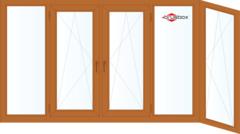 Балконная рама Балконная рама Brusbox 3650*1450 1К-СП, 3К-П, Г+П/О+П/О+Г+П/О (односторонняя ламинация)  Г-образная