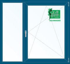 Окно ПВХ Окно ПВХ Salamander 1460*1400 2К-СП, 5К-П, Г+П/О ламинированное (темно-синий)
